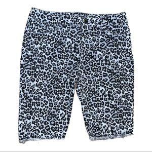 WHBM Repurposed Animal Print Jean Shorts Size 2